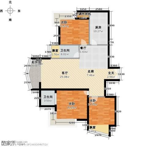 利君明天二期3室0厅2卫1厨126.00㎡户型图
