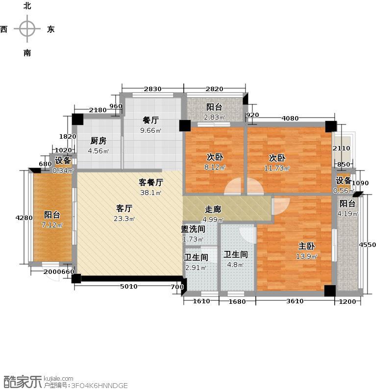 绿洲富城111.78㎡111.78-114.44㎡户型3室2厅2卫