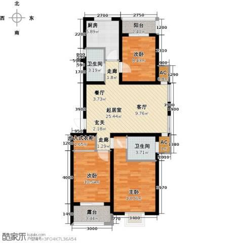世纪名城3室0厅2卫1厨117.00㎡户型图