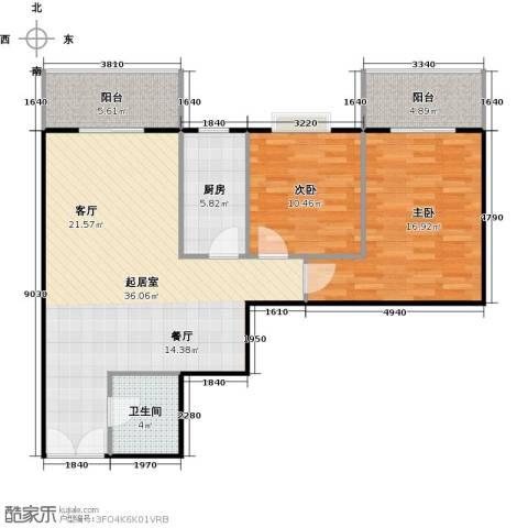 八佳花园20#楼(西城品格)2室0厅1卫1厨97.00㎡户型图