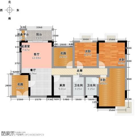 橄榄君庭3室0厅2卫1厨113.00㎡户型图