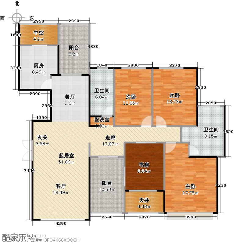 锦绣香江布查特官邸3期11-13栋B01户型4室2卫1厨