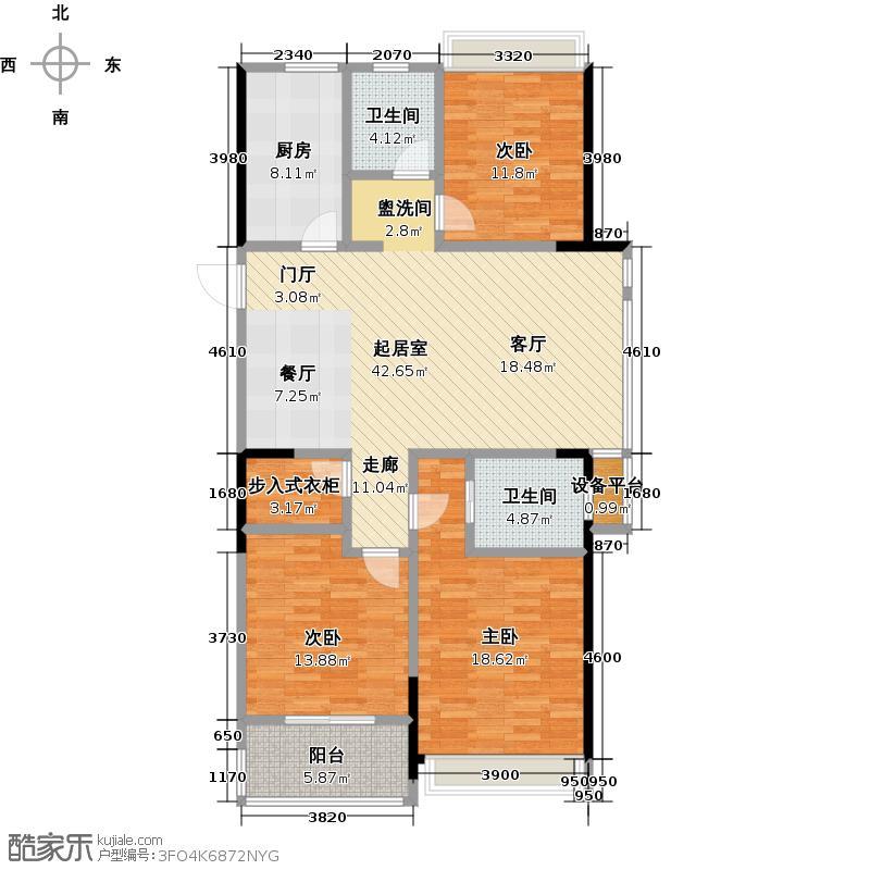 泰盈八千里128.60㎡A户型三房两厅两卫128.6平户型3室2厅2卫