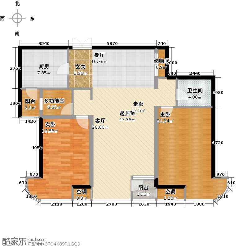 金都・杭城122.00㎡1号楼A户型两室两厅一卫户型