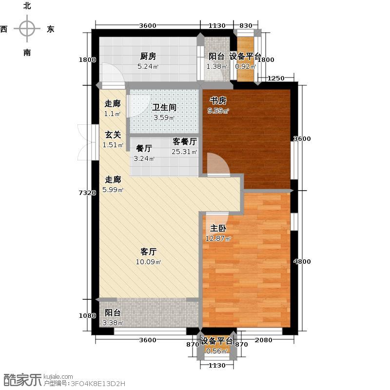 A-Z TOWN爱这城A53户型B2两室一厅一卫户型