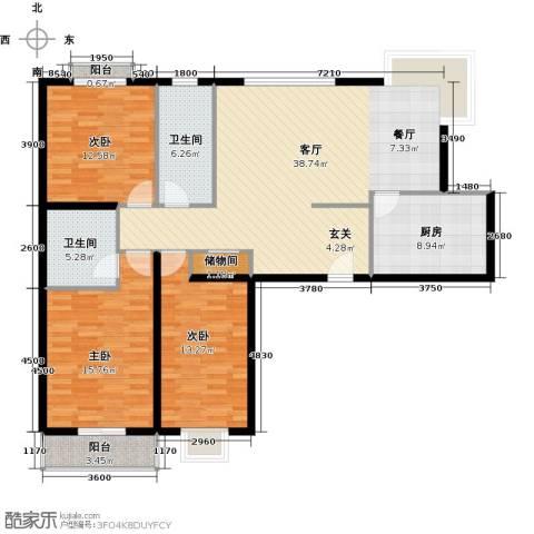 映天朗(五号公馆)3室1厅2卫1厨136.00㎡户型图