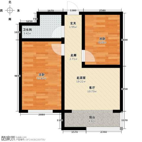 翔达・江湾御景2室0厅1卫0厨62.00㎡户型图
