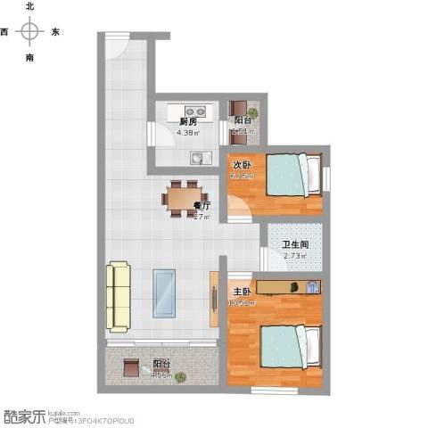 金地梅陇镇2室1厅1卫1厨84.00㎡户型图