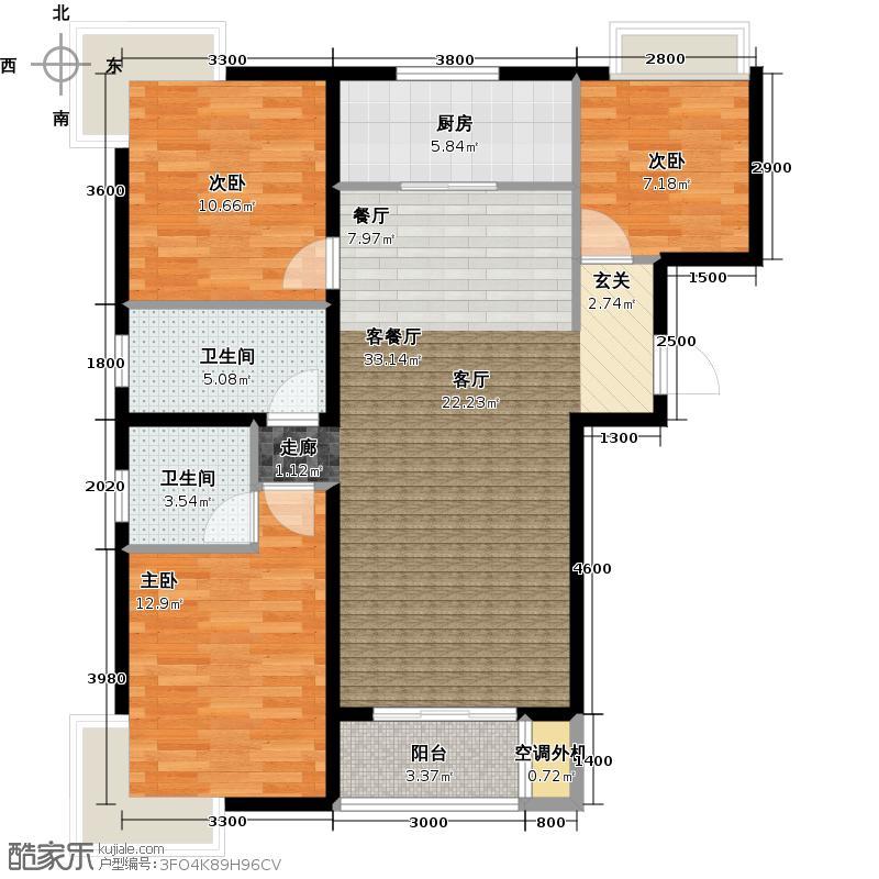 夏威夷南岸玫瑰花园120.00㎡Q4户型 三室两厅两卫户型3室2厅2卫