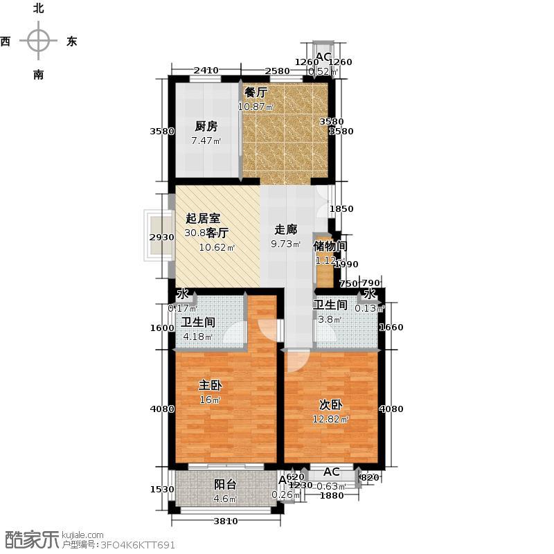 广海花园三期100.00㎡房型: 二房; 面积段: 100 -110 平方米; 户型