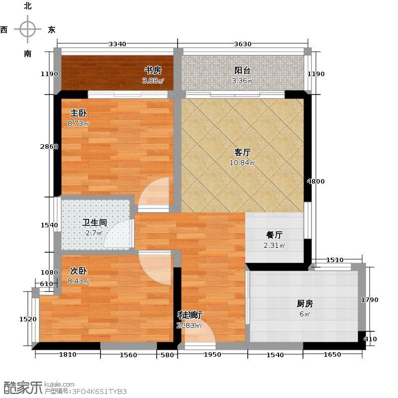 西岸香舍・海南印象63.83㎡1栋G户型1室2厅1卫