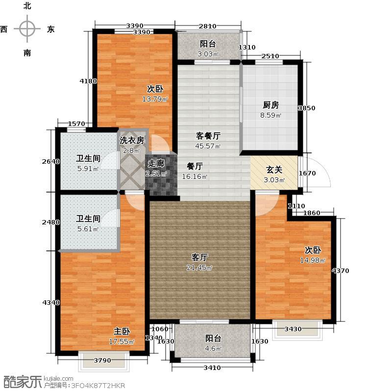 宏强・水木清华135.00㎡文溯阁三室两厅两卫户型