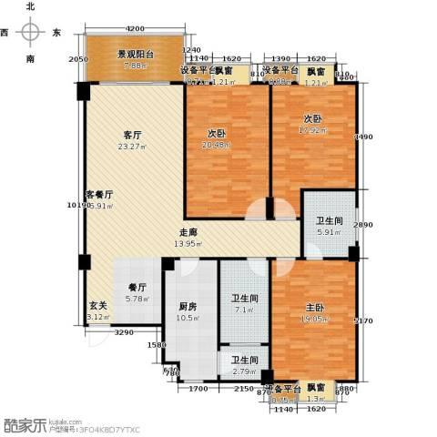 一品金子湾3室1厅3卫1厨139.86㎡户型图