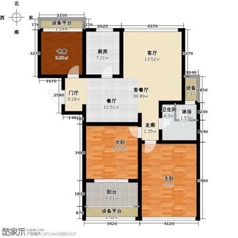 上书房3室1厅1卫1厨150.00㎡户型图