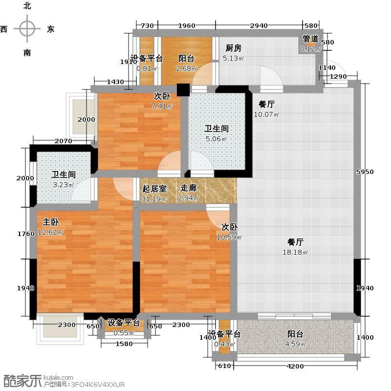 熙苑108.52㎡3#户型3室2厅2卫