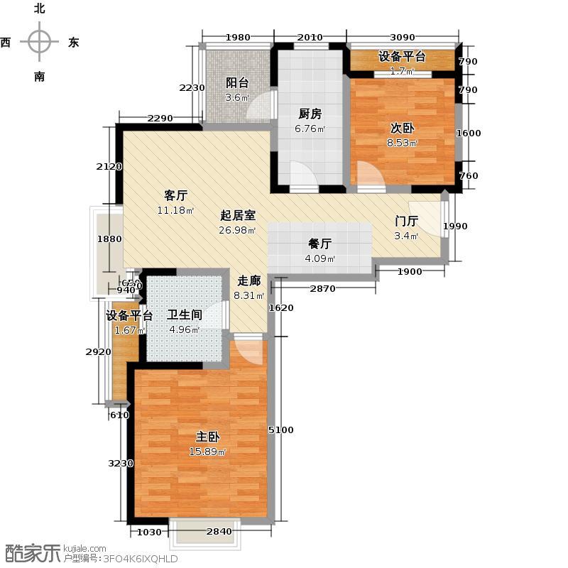 保利家园一期80.00㎡二房一厅一卫-83平方米-34套-嘉定房地(2009)预字0116号户型