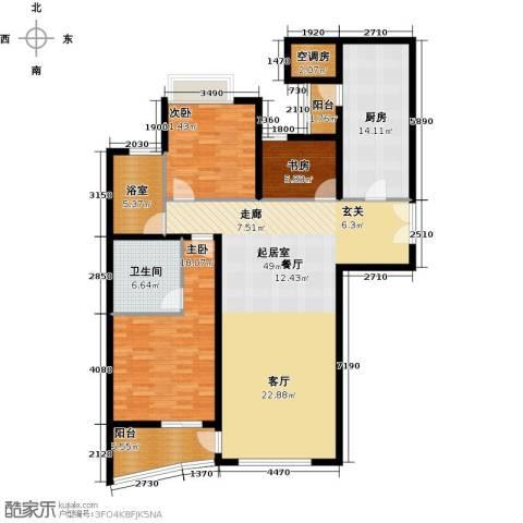 海晟国际公寓3室0厅1卫1厨135.00㎡户型图