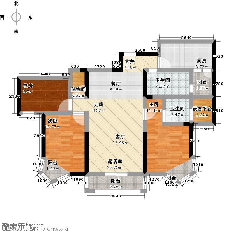 江南新天地F-T户型3室2卫1厨