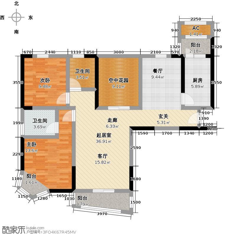 江南新天地J-T户型2室2卫1厨