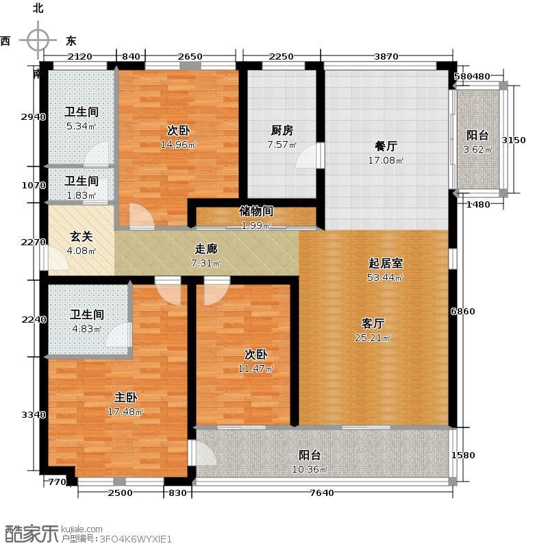 安亭新镇130.00㎡房型: 三房; 面积段: 130 -150 平方米;户型