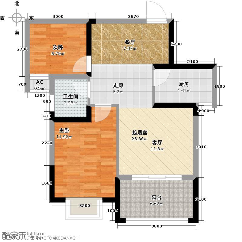 七里香榭79.02㎡5#F户型两房两厅一卫户型2室2厅1卫