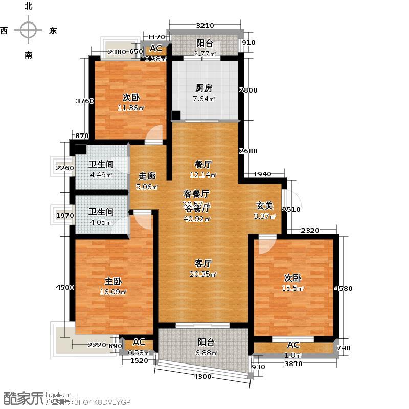 嘉宝都市港湾二期120.00㎡房型: 三房; 面积段: 120 -130 平方米;户型