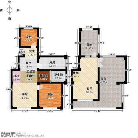 学府华园2室1厅1卫1厨122.00㎡户型图