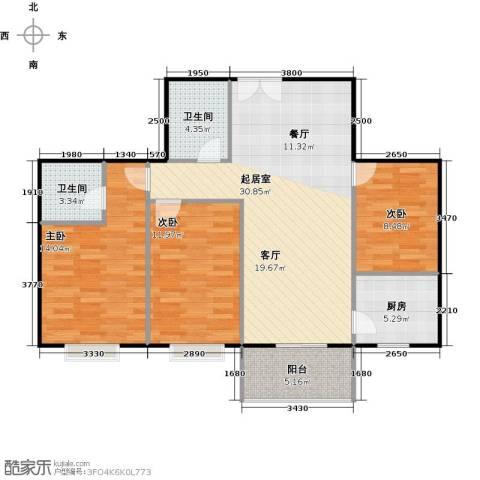 八佳花园20#楼(西城品格)3室0厅2卫1厨92.00㎡户型图