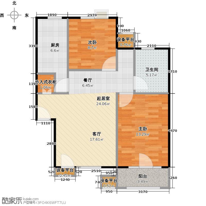 绿地蓝海庭(绿地东岸涟城一期)70.00㎡房型: 二房; 面积段: 70 -80 平方米; 户型