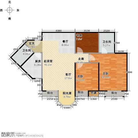 合生珠江罗马嘉园3室0厅2卫1厨119.00㎡户型图