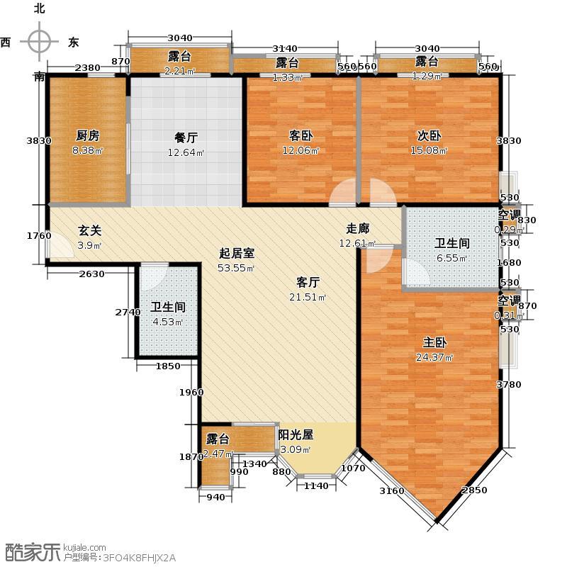 合生珠江罗马嘉园149.77㎡三室两厅两卫户型