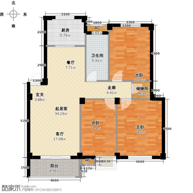 铜锣湾铭城113.35㎡D2户型3室2厅1卫