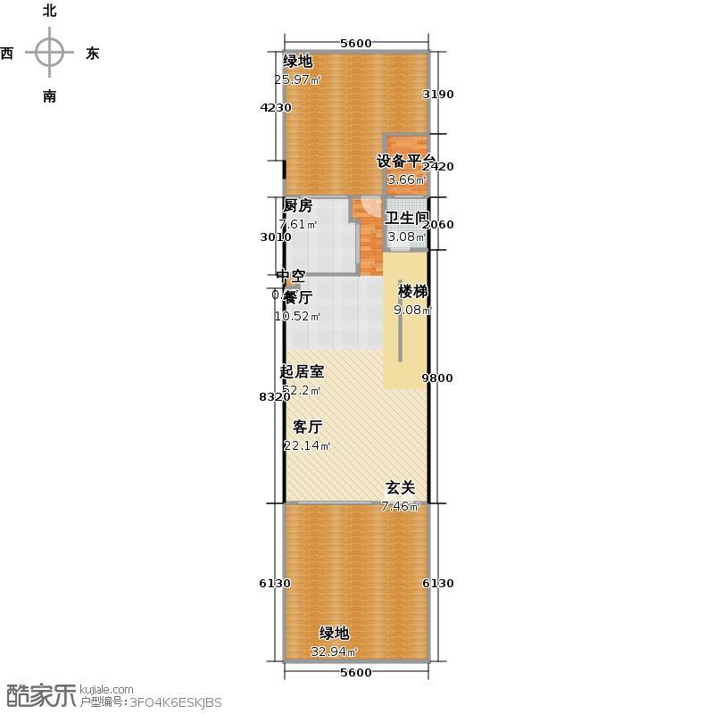 元邦山清水秀一期东区E13栋0D一层户型1卫1厨