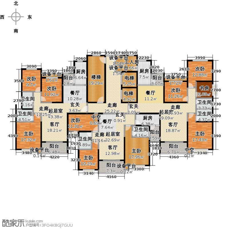 安阳恒大绿洲一期5、6号楼1、3单元户型图户型