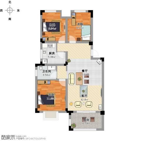 北环阳光花园3室1厅1卫1厨123.00㎡户型图