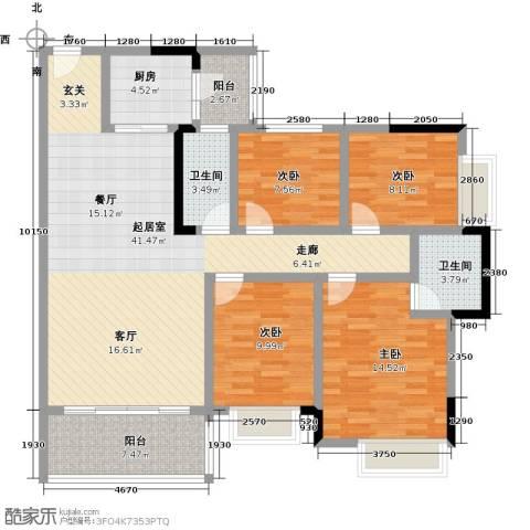 海锦御林苑4室0厅2卫1厨131.00㎡户型图