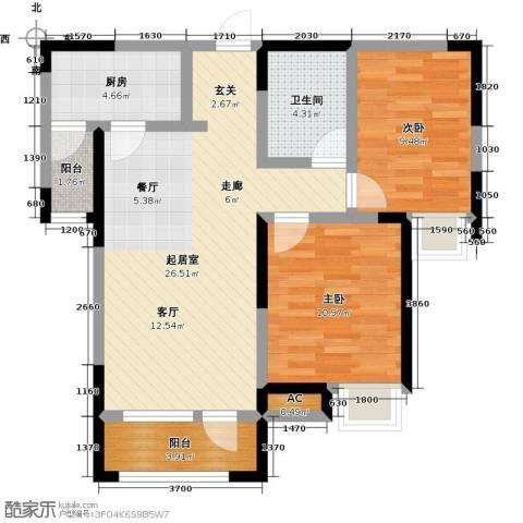 中海・紫御江城2室0厅1卫1厨89.00㎡户型图