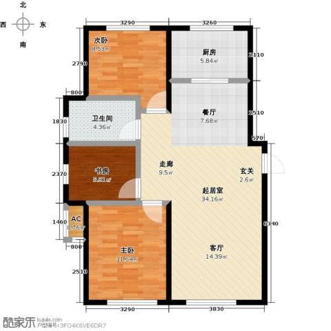 兆嘉・自由向3室0厅1卫1厨98.00㎡户型图