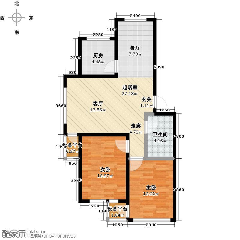 华源名居二期82.10㎡F1户型82.1平两室两厅一卫户型2室2厅2卫