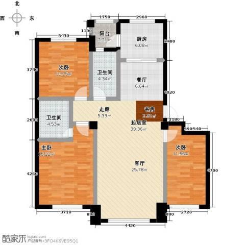 兆嘉・自由向3室0厅2卫1厨105.00㎡户型图