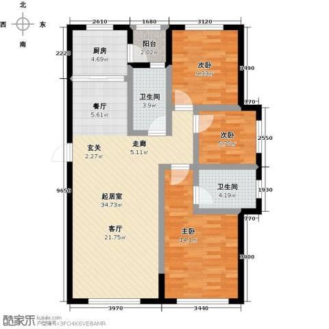 兆嘉・自由向3室0厅2卫1厨99.00㎡户型图