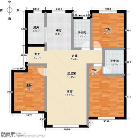 兆嘉・自由向3室0厅2卫1厨110.00㎡户型图