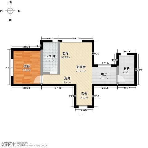 大连玉龙湾1室0厅1卫1厨64.00㎡户型图