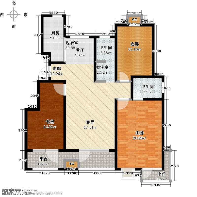 公园世家・观山樾128.54㎡A3户型 三室两厅两卫户型3室2厅2卫
