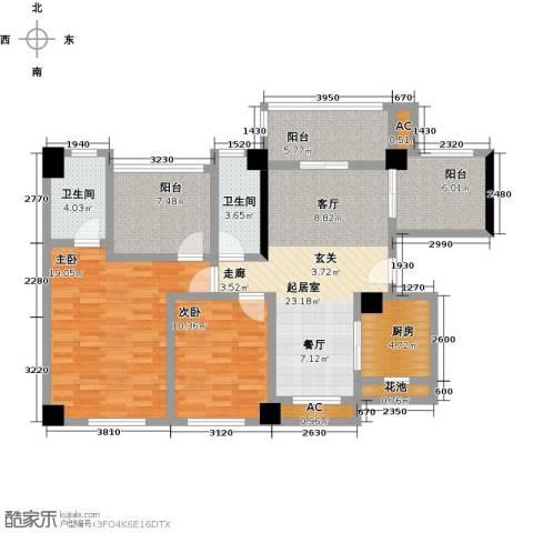 龙华花半里2室0厅2卫1厨86.47㎡户型图
