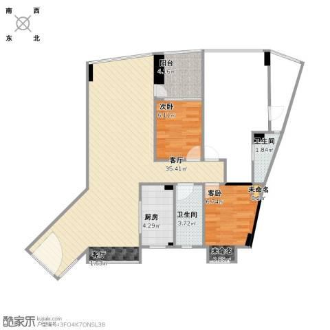 城东名门3室1厅2卫1厨116.00㎡户型图