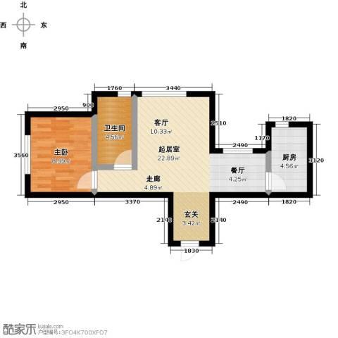 大连玉龙湾1室0厅1卫1厨60.00㎡户型图