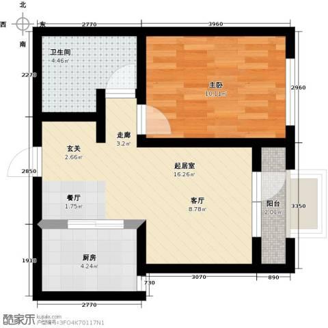 大连玉龙湾1室0厅1卫1厨55.00㎡户型图