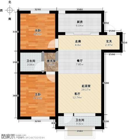 大连玉龙湾2室0厅2卫1厨89.00㎡户型图