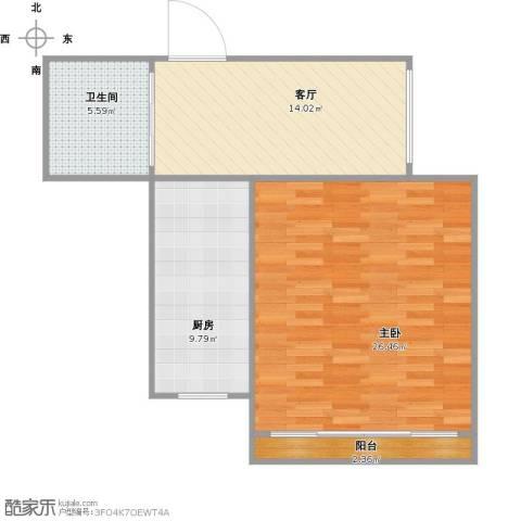 兴华花园1室1厅1卫1厨78.00㎡户型图